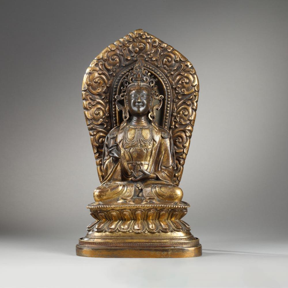 铜镏金背光菩萨像 - 1