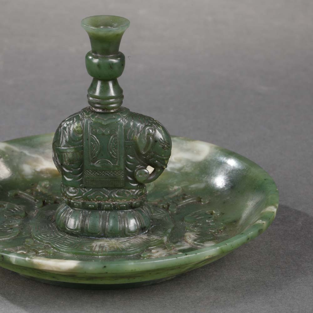 Porte–bâtons d'encens en jade vert épinard - 2