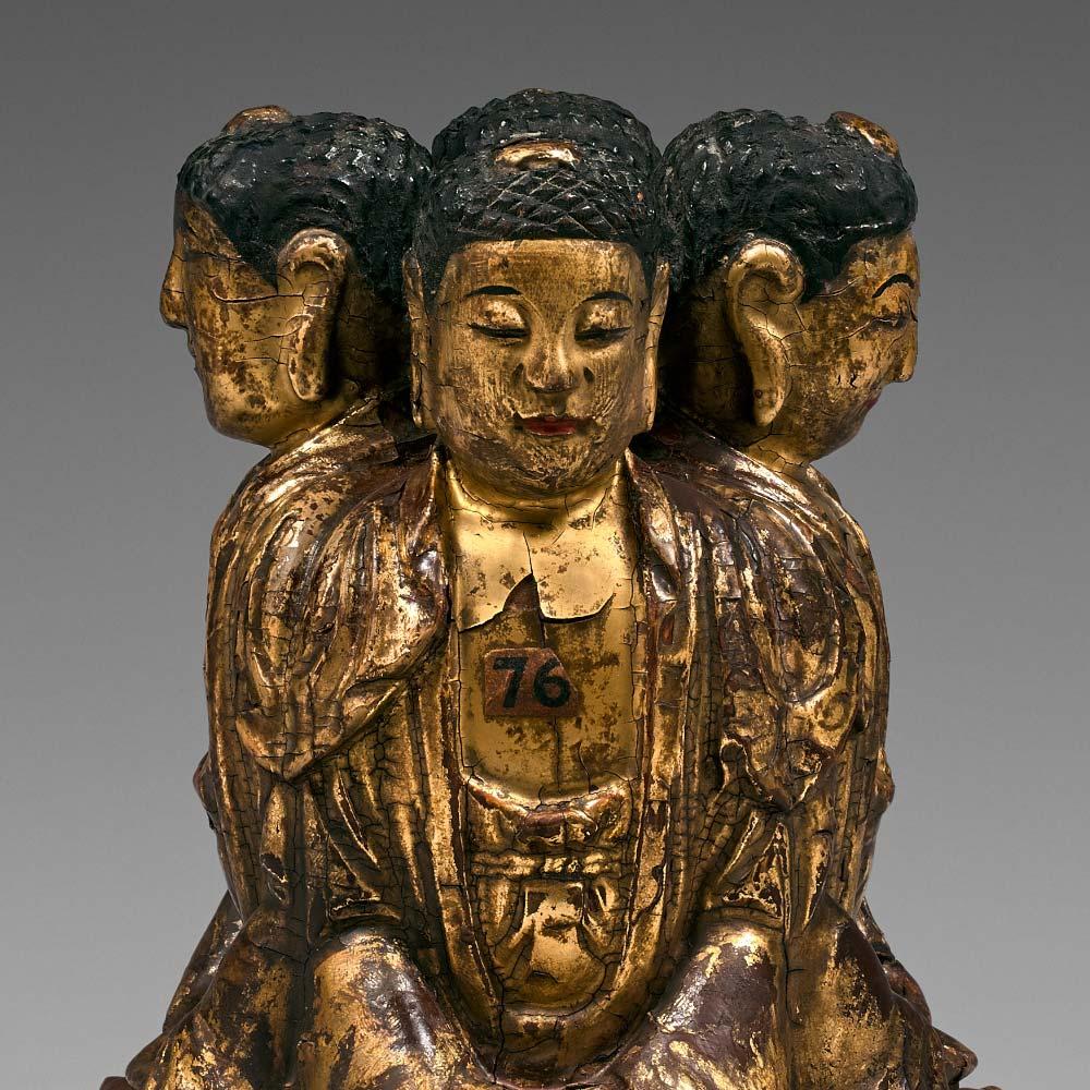 A rare group of four gilt-lacquered buddhas - 2