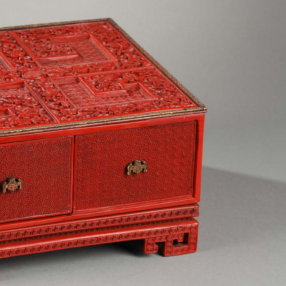 An imperial treasure box and its stand decorated with longevity symbols and bats flying above waves - 2