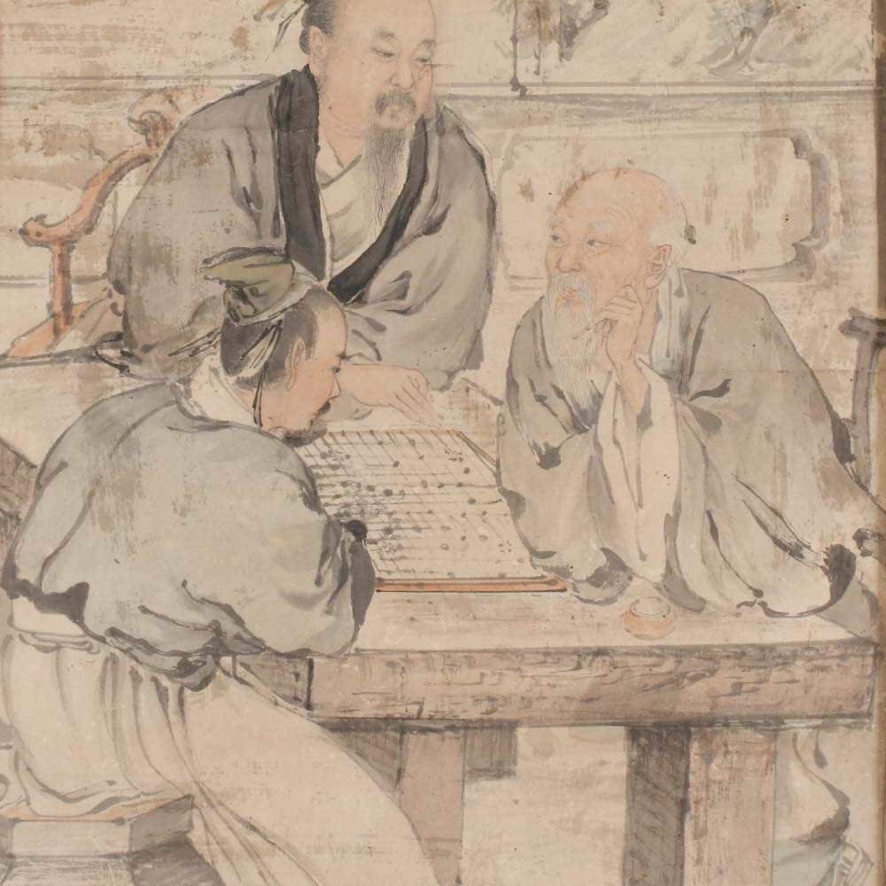 A painting depicting three scholars playing weiqi - 2