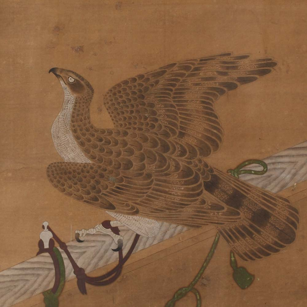 A painting depicting a hawk on a perch - 2