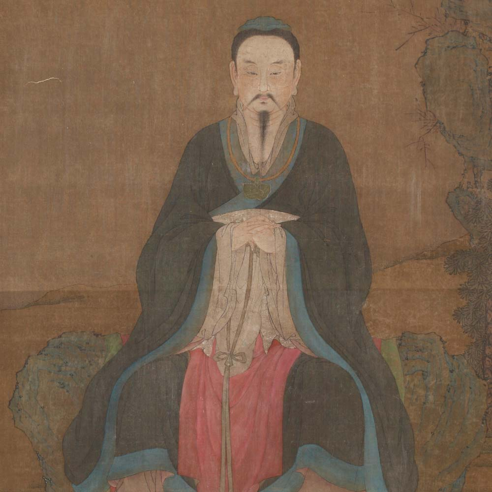 A painting depicting a scholar in a rocky landscape - 2