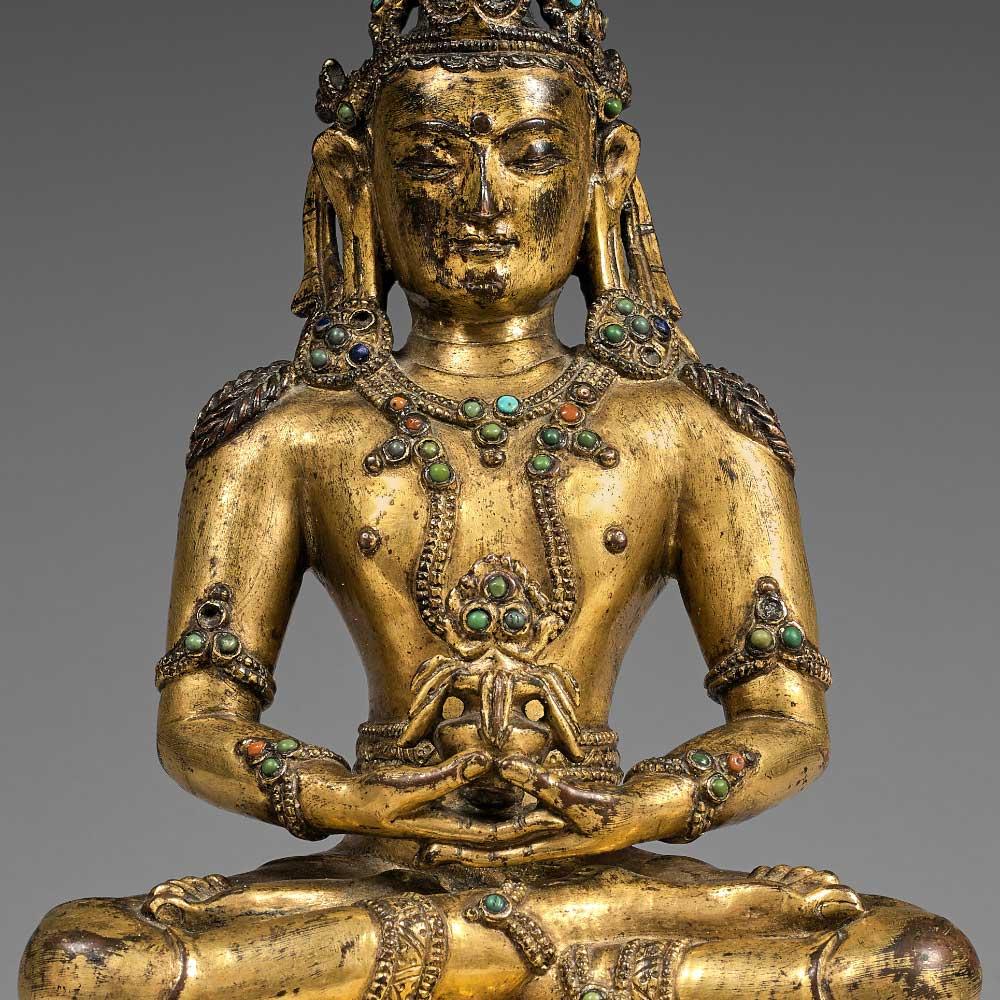 Statuette représentant le bouddha de la longévité Amitayus en bronze doré - 2