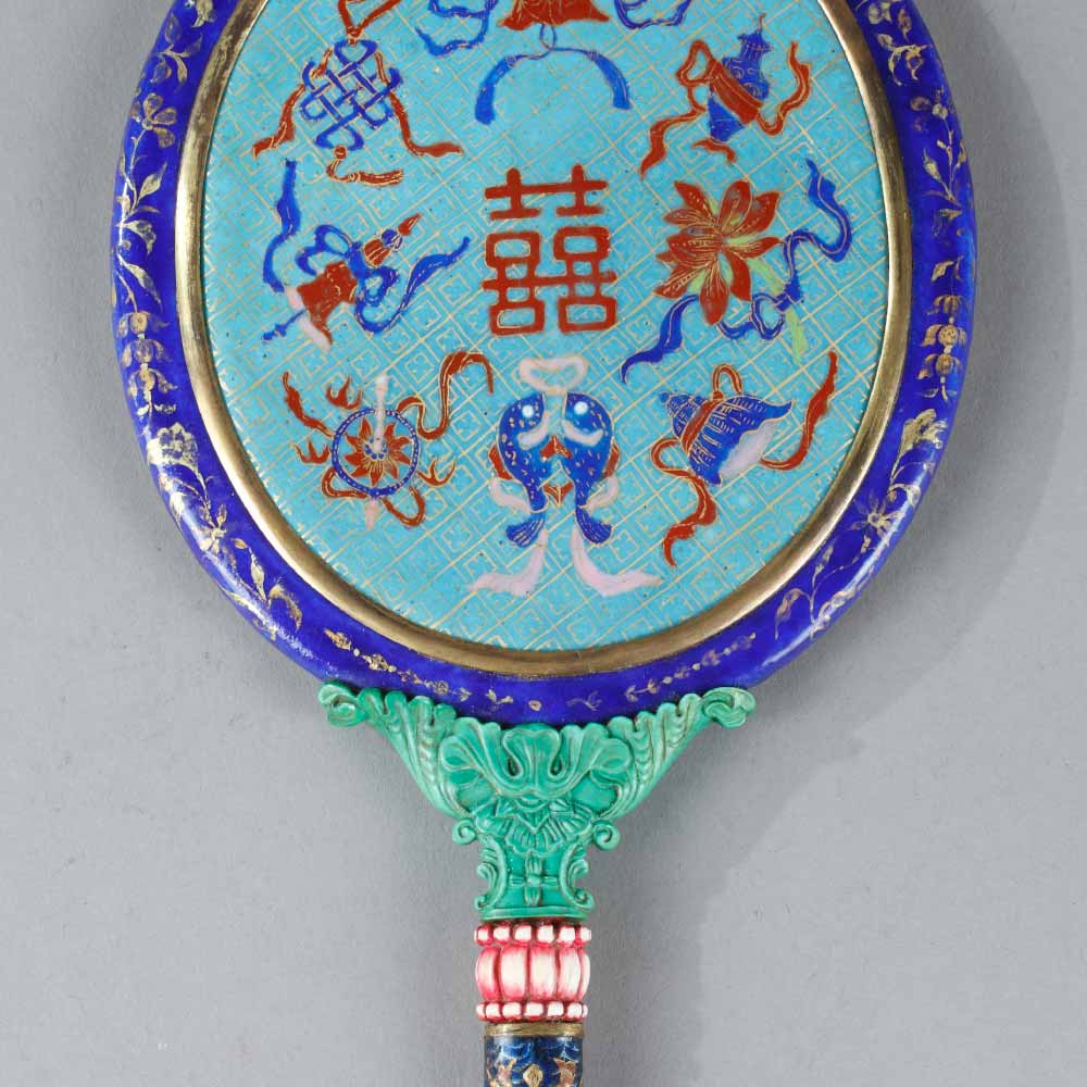 A painted enamel hand-mirror with auspicious patterns - 2