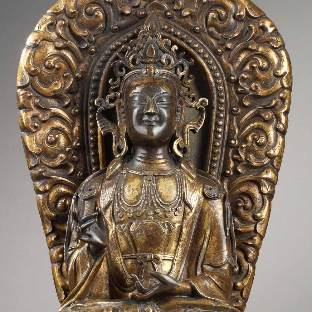 铜镏金背光菩萨像 - 2