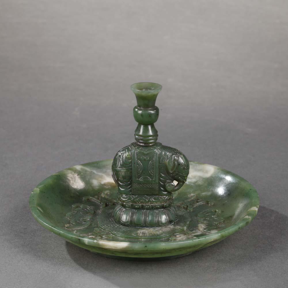 Porte–bâtons d'encens en jade vert épinard - 1