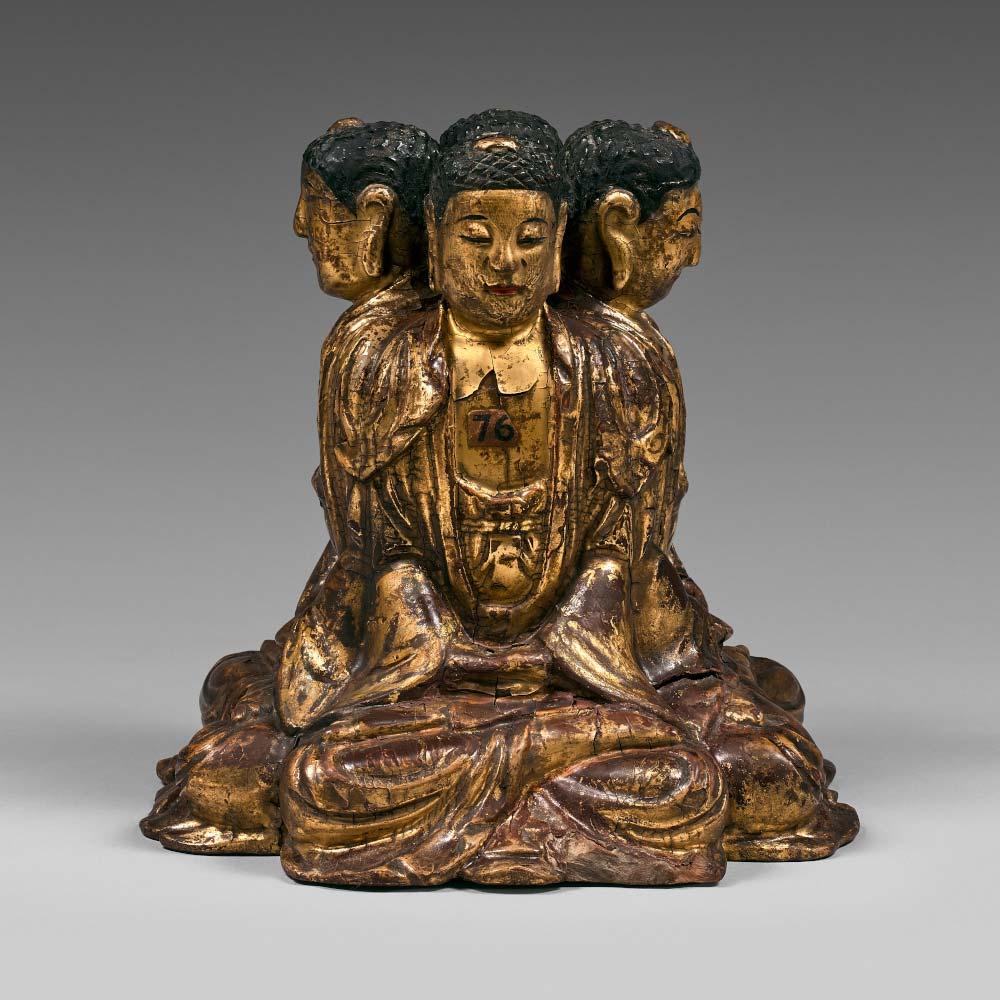 A rare group of four gilt-lacquered buddhas - 1