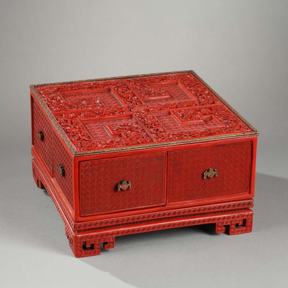 An imperial treasure box and its stand decorated with longevity symbols and bats flying above waves - 1