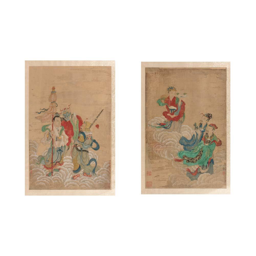 A pair of paintings depicting Daoist deities - 1