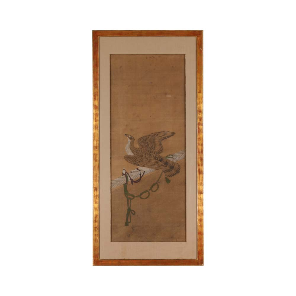 A painting depicting a hawk on a perch - 1