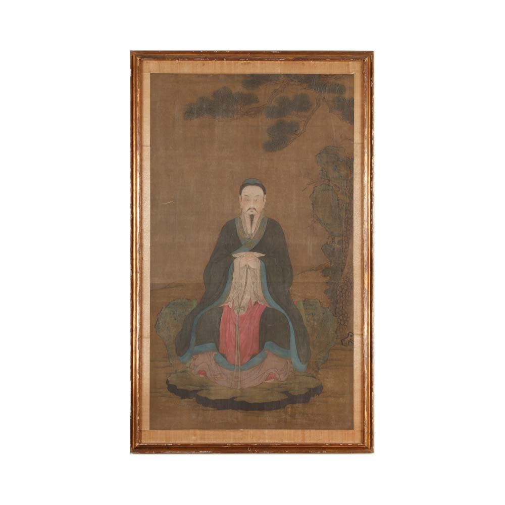 A painting depicting a scholar in a rocky landscape - 1