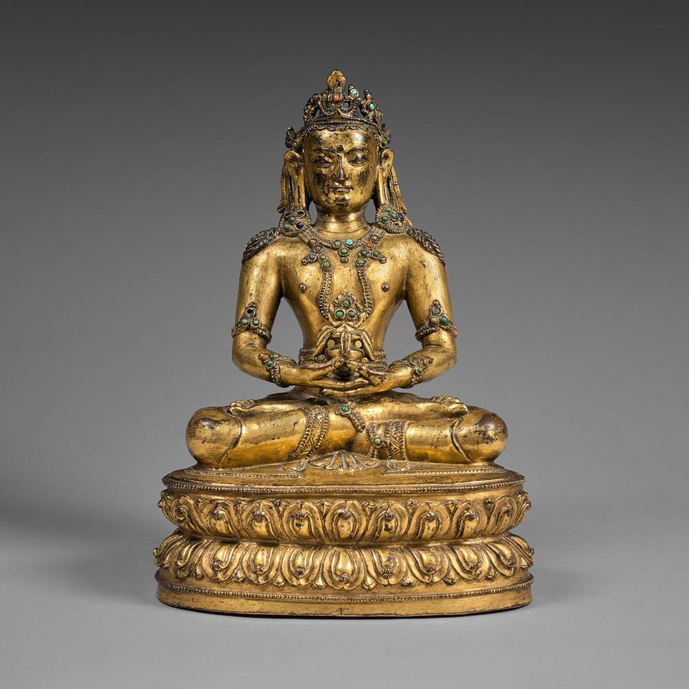 Statuette représentant le bouddha de la longévité Amitayus en bronze doré - 1