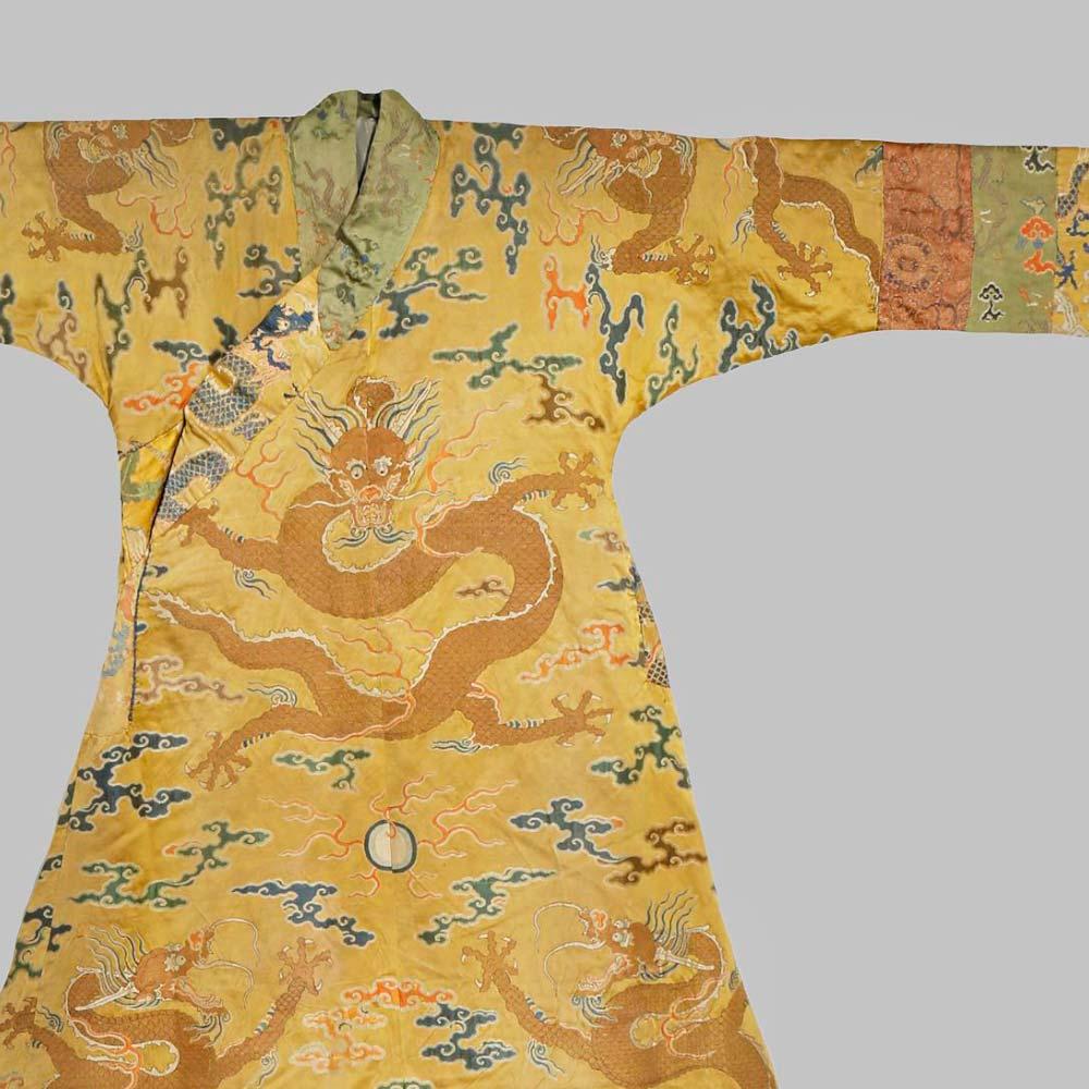"An imperial yellow satin brocade tibetan–style chuba ""dragon"" robe - 2"