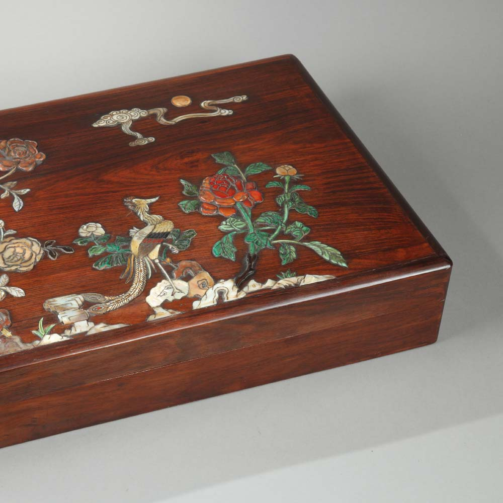 An important inlaid huanghuali box with a phoenix among flowers - 2