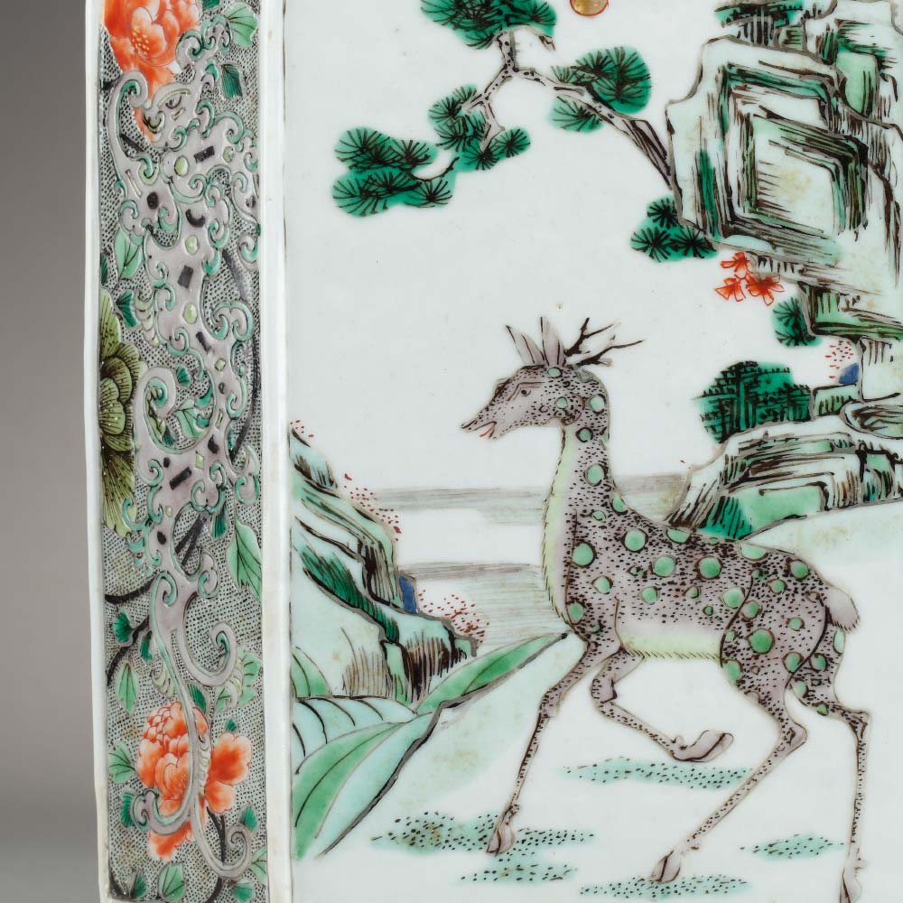 A famille verte porcelain bitong brushpot decorated with deers and birds among flowers - 2