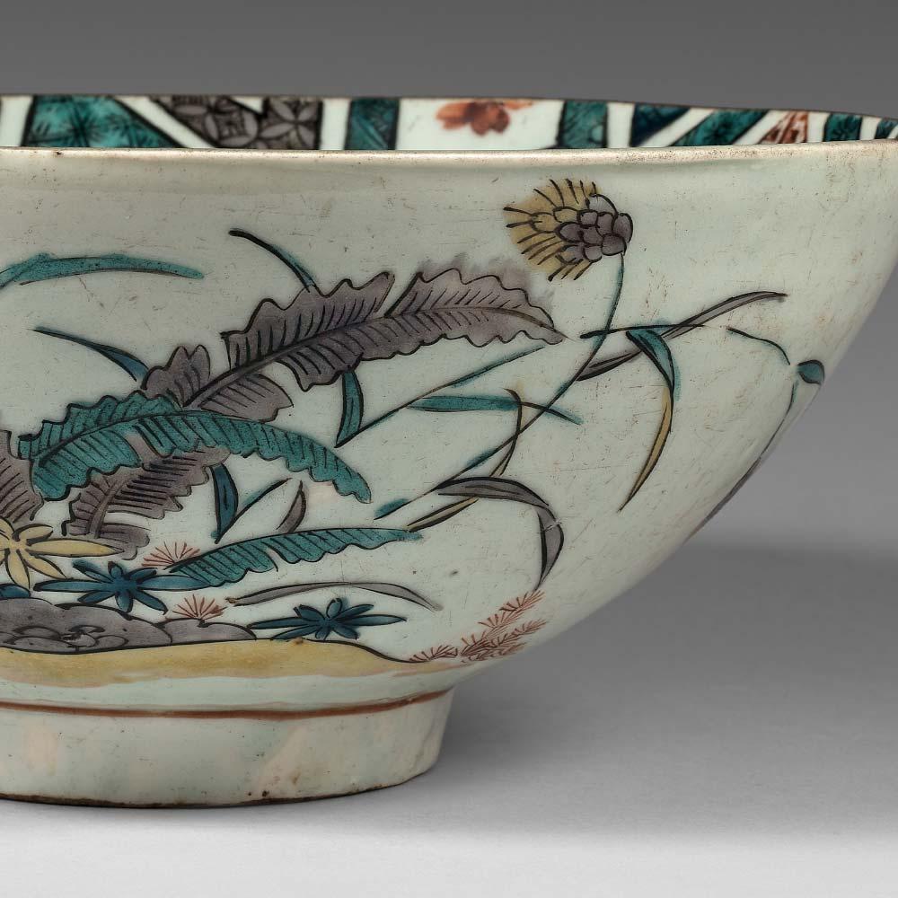A rare Ko-Kutani porcelain bowl with overglaze polychrome enamels - 2
