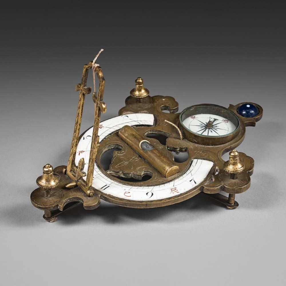 A gilt–bronze pocket compas and sundial - 1