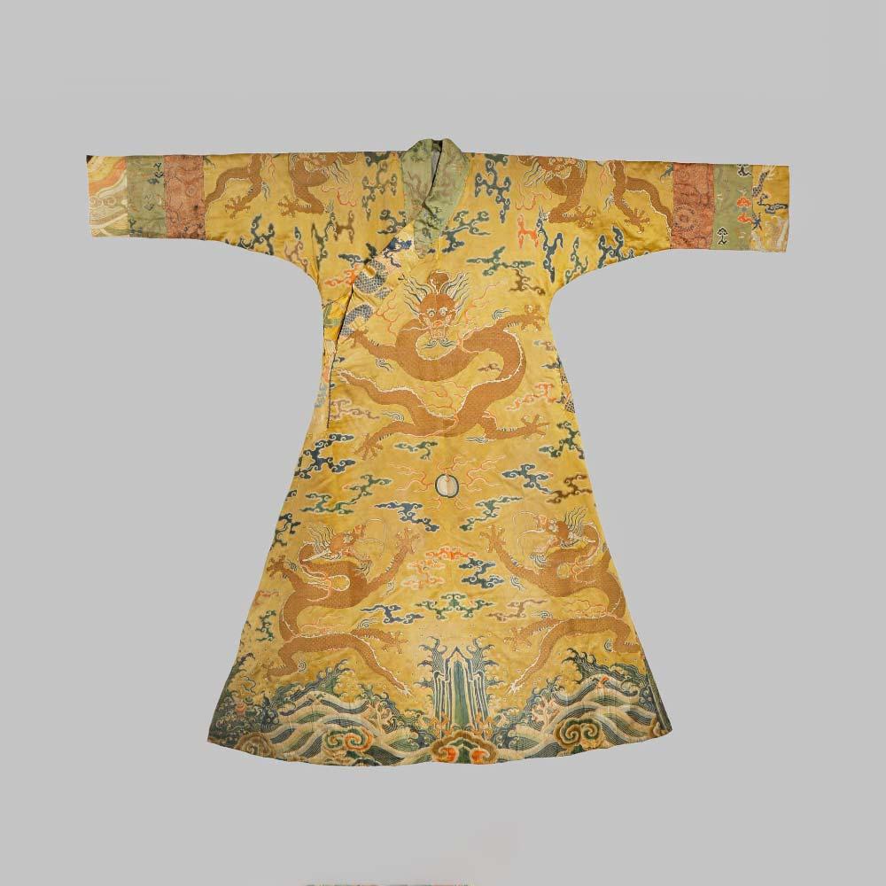 "An imperial yellow satin brocade tibetan–style chuba ""dragon"" robe - 1"