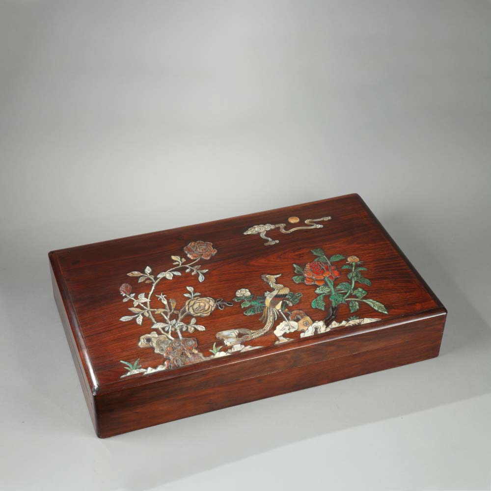 An important inlaid huanghuali box with a phoenix among flowers - 1